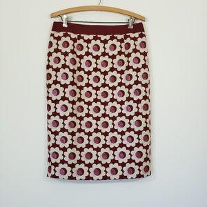 Boden Metallic Floral Pencil Skirt 8L